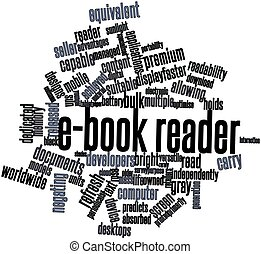 E-book reader - Abstract word cloud for E-book reader with...