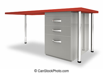 Desk against a white background