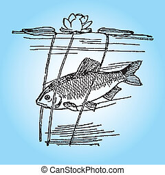 Fish in the wild with aquatic plants. Vector illustration.