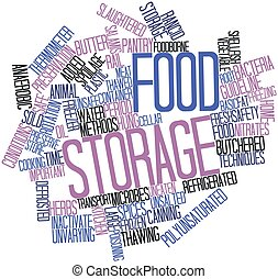Food storage - Abstract word cloud for Food storage with...