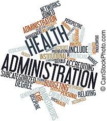 palavra, nuvem, saúde, administração
