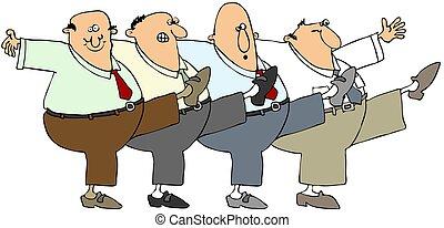 Old men dancing - This illustration depicts four older men...