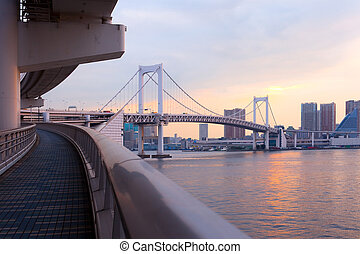 Footpath on Rainbow Bridge, Odaiba, Tokyo, Kanto Region,...