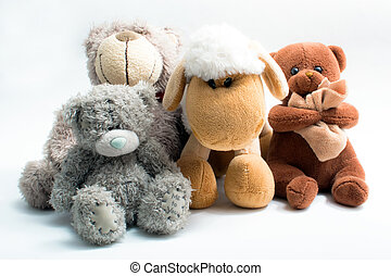 Stuffed animal toys isolated on white