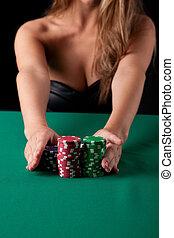 Woman playing poker - Very beautiful woman playing texas...