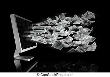 100 Dollar bills coming out a computer screen