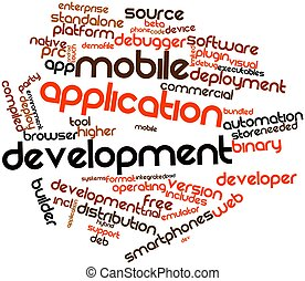 Mobile application development - Abstract word cloud for...