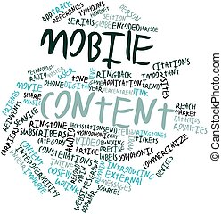 Mobile content - Abstract word cloud for Mobile content with...