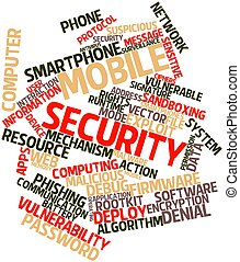 Mobile security - Abstract word cloud for Mobile security...