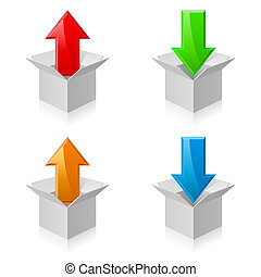 Color boxes and arrows - Illustration of white open...