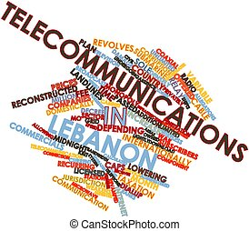 Telecommunications in Lebanon - Abstract word cloud for...