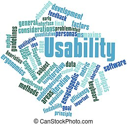 Usability - Abstract word cloud for Usability with related...