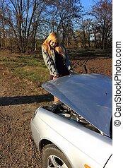 The girl's car broke down