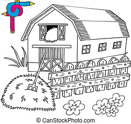 Coloring image barn - vector illustration