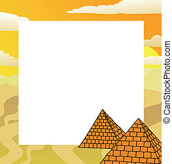Frame with pyramids - vector illustration