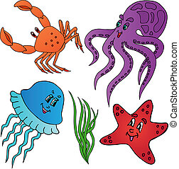 Various marine animals collection - vector illustration.