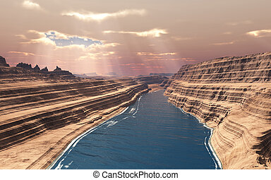 Canyon - This image shows a canyon with river