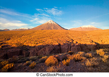 Licancabur Volcano at the Altiplano, San Pedro de Atacama,...
