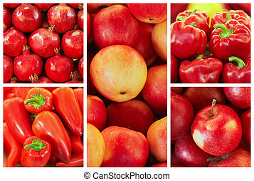 collection of red fruit and vagetable backgrounds,...