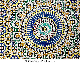 Visual pattern decoration inside the Kasbah Telouet in the...