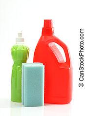 detergent bottles and sponge