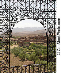Morocco landscape from the Telouet Kasbah ruins in the South...