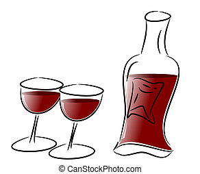 Red Wine Glasses and Bottle - Free hand illustration of two...