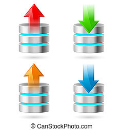 Database - Computer Database with Upload and Download Arrows