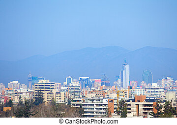 Panoramic view of downtown Santiago, Chile