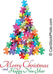 tree puzzle - illustration of christmas tree made of...