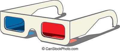 3D movie eyeglasses - vector drawing of 3D movie glasses -...