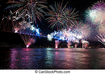 Bosporus Bridge - Fireworks and light show at Bosporus...