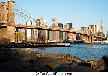 Brooklyn bridge and Manhattan downtown, New York City; USA