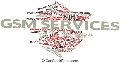 GSM services - Abstract word cloud for GSM services with...