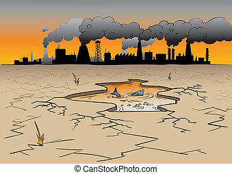 environmental pollution - a place where factories cause...