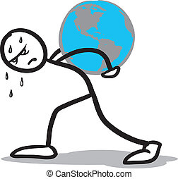 atlas stickman - a stickman hardly carrying the earth on his...