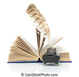 pen, ink and a book on a white background - pen, inkwell and...
