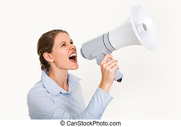 Woman with megaphone - Portrait of businesswoman holding...