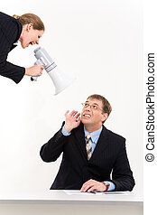 Listen! - Portrait of businessman sitting at desk with lady...