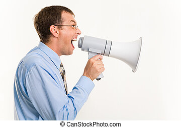 Screaming - Profile of man shouting through megaphone...