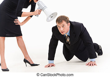 Get down to business! - Image of businessman in suit doing...