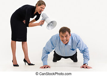 Lie down - Image of businesswoman standing and screaming at...