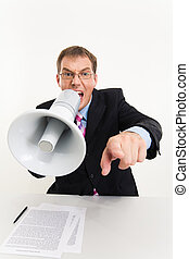 Orator - Photo of businessman sitting at the table speaking...