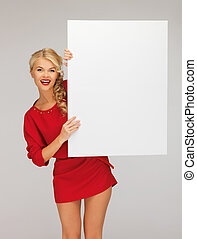 lovely woman in red dress with blank board - picture of...