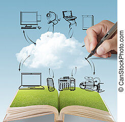 open book of cloud network and hand draws