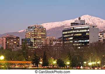 Skyline of Providencia district with the Andes mountain...