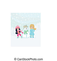 Little girls and snowman