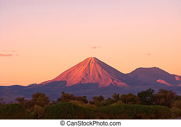 Licancabur volcano and the oasis of San Pedro de Atacama,...