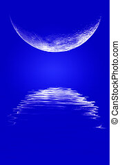 Moonrise Reflection - Moonrise over water with reflection...