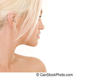 sideview - birght sideview picture of lovely blonde over...